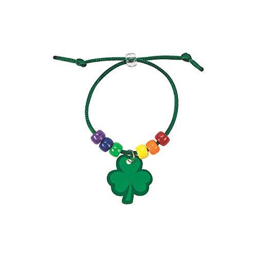 Fun Express Rainbow Shamrock Charm Bracelet Craft Kit - Makes 24 - St. Patrick's Day Crafts for Kids