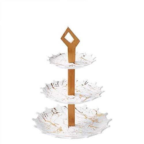 Trendmax Etagere 3-stufig Marmor Design Porzellan für Dessert Muffin Cake Stand Servierstand Party Dekoration Obst weiß