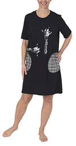 Normann Damen Nachthemd Kurzarm, mit süssen Giraffenmotiv, auch in Übergrössen bis 60/62-191 214 90 100, Farbe:schwarz, Größe2:48/50