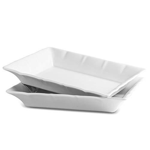 Porcelain Baking Dish Lasagna Pan Serving Tray, 2 Quart Casserole Baking Pan for Serving, 2 Pack Bakeware Set,White
