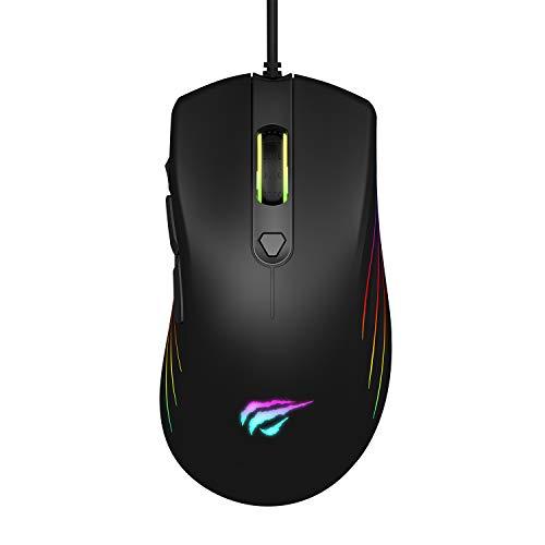 havit Ratón Gaming 7 Botones Mouse Gaming programables Iluminación RGB [800-1600-2400-4800-6400DPI,] para Windows7/8/10/Xp/Vista/Linux