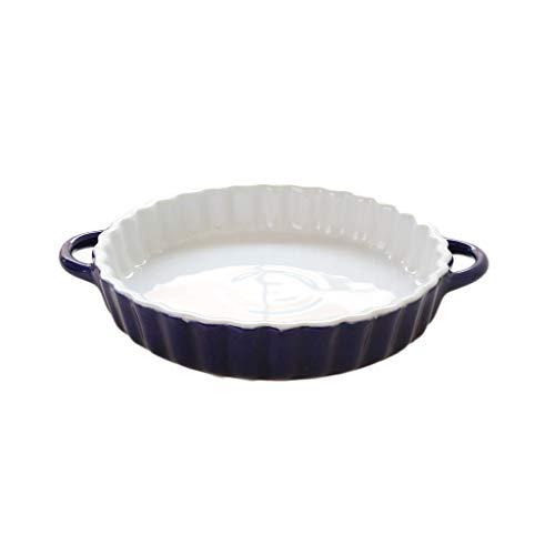Plat à pâtes en céramique pour risotto à base de plat à gratin Plat de cuisson à four rond (Color : Blue)