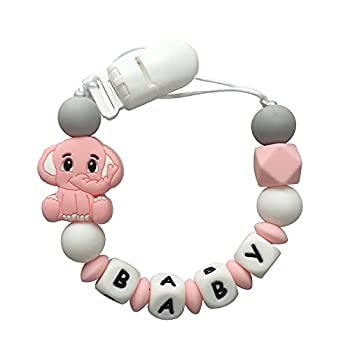 Upalupa Baby Personalized Pacifier Clip with Name Lovey Elephant Pacifier Holder Silicone Beads BPA Free Customizable Soother Clip Binky Holder for Babies Boys Girls Shower Gift - Pink