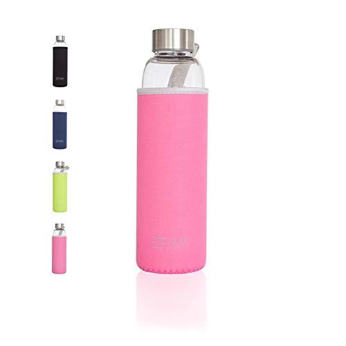EZFAMA Botella de Agua Deportiva de Vidrio borosilicato 550ml con Funda de Nailon Prueba de Fugas Sin BPA Respetuoso del Medio Ambiente Ideal para Oficina Viaje Deporte Yoga Gimnasio Coche (Rosa)