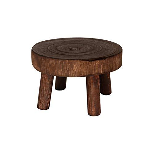 Soporte de madera para plantas con taburete, soporte para macetas, diseño moderno y redondo, para jardín, para interior, balcón, decoración de jardín