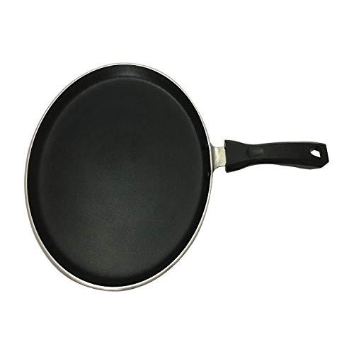 Dosa Tawa Pfannkuchenpfanne mit Antihaftbeschichtung, Dosa-Pfanne, indischer Stil, rund, antihaftbeschichtet, flach, Tava-Grill, Dicke 4 mm, Größe 27,9 cm (Schwarz