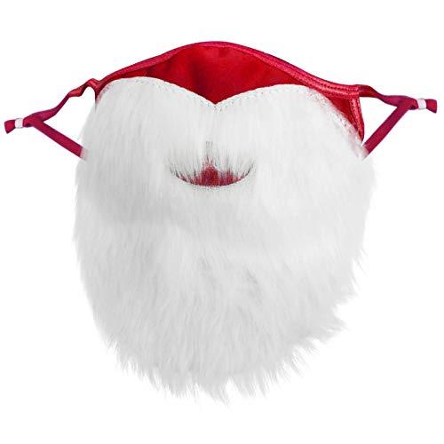 Santa Beard Face_Mask for Christmas, Owill Christmas Santa Claus Face_Masks Reusable Washable Adjustable Face Bandanas for Adults Men Women, Funny Santa Beard for Christmas Party (Red - 1PC)