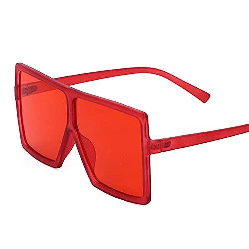 Aiong Gafas de Sol, Gafas de Sol cuadradas, Parte Superior Plana, Rojo, Azul, Lente Transparente, Hombres Vintage, Tonos degradados