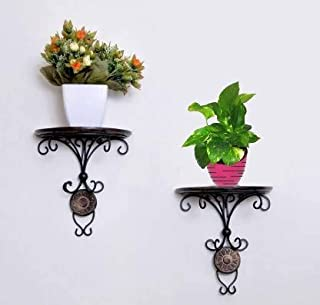 Jungle Art Homebunch Wall Bracket | Wall Shelf Decor | Bracket for Living Room | Beautiful Wood and Wrought Iron Fancy Wal...