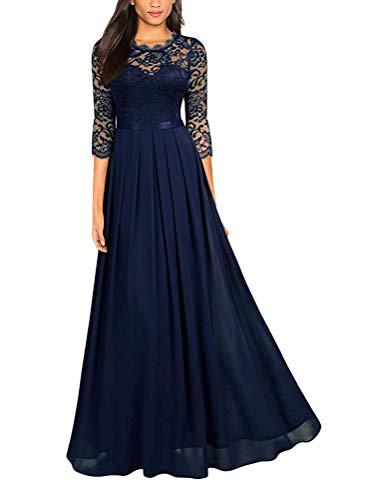 Minetom Damen Spitzenkleider Hochzeit Chiffon Abendkleider Elegant 3/4 Ärmel Maxi Langes Kleid Cocktail Party Ballkleid Brautjungfernkleid C...