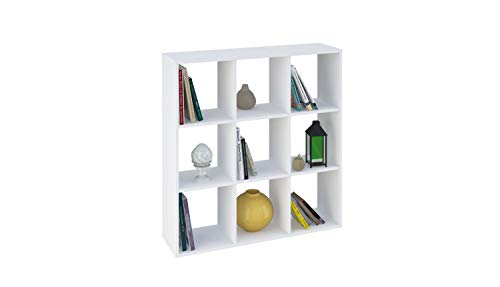 Polini Home separador de ambientes estante para libros blanco 9 compartimentos, 1694.9