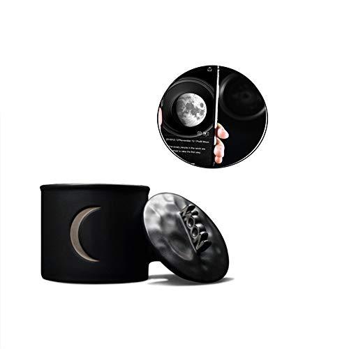 Taza de 180ml con la Taza del Conjunto Blanca Luna con la Luna Noche Temática Negro + luz Luna Plata Cubierta Copa + AR Fase Luna y la Firma Calendario Día Estado de ánimo