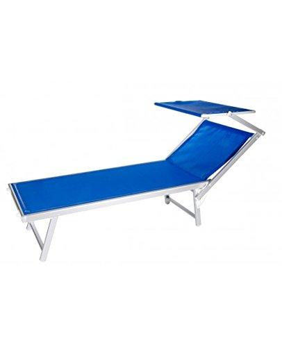VERDELOOK Lettino da Mare con Parasole, Struttura in Alluminio Telo in textilene, 186x61x38 cm, Blu