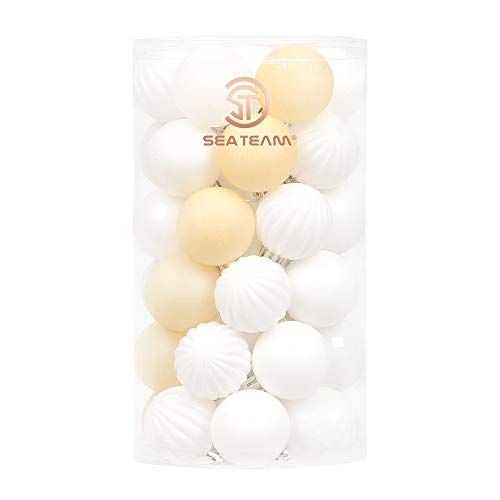 Sea Team 41-Pack Christmas Ball Ornaments with Strings, 40mm/1.57-Inch Small Size Baubles, Shatterproof Plastic Christmas Bulbs, Hanging Decorations for Xmas Tree, Holiday, Wedding, Party, White