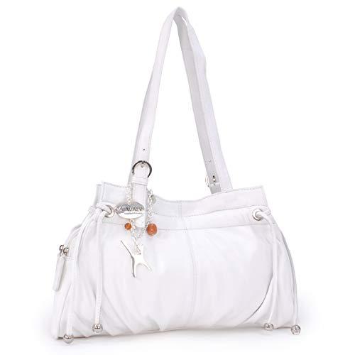 Catwalk Collection Handbags - Vera Pelle - Borsa a Spalla/Borse a Mano - Con Ciondolo a Forma di Gatto - Alice - BIANCO