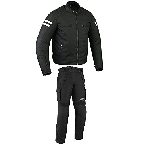 BOSmoto Motorradjacke mit Hosen Protektoren Motorrad Kombi Tour Textiljacke, Motorradjacke Herren, wasserabweisend Windabweisend, atmungsaktiv, Weitenverstellung, Protektoren, (S)