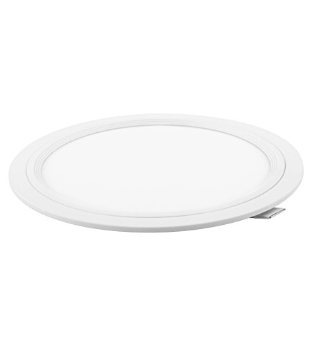 DavLED 23755 - Downlight LED redondo plano (disponible en varios colores, cortes y luminosidades), aluminio, blanco, 18W, luz fría, corte 190mm
