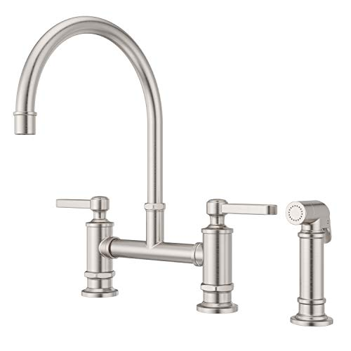 Pfister LG31-TDS Port Haven Kitchen Bridge Faucet with Side Sprayer, Stainless Steel