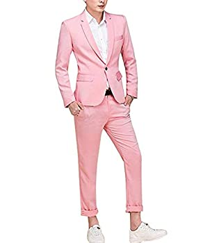 Cloudstyle Men s Suit Single-Breasted One Button Center Vent 3 Pieces Slim Fit Formal Suits Pink Large