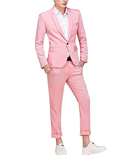 Cloudstyle Men's Suit Single-Breasted One Button Center Vent 2 Pieces Slim Fit Formal Suits,Pink,Small