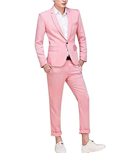 YFFUSHI Slim Fit 2 Piece Suit For Men One Button Casual/Formal/Wedding Tuxedo,Black,Medium