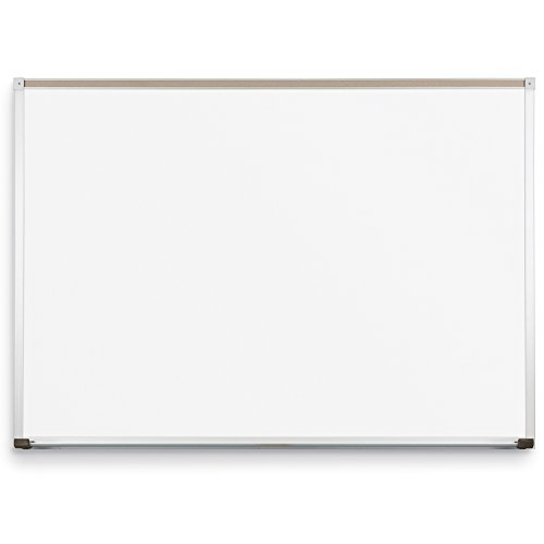 Best-Rite Classroom Deluxe Porcelain Steel Dry Erase Whiteboard, 4 x 10 Feet Magnetic Markerboard With Aluminum Trim & Map Rail (202AK-25)