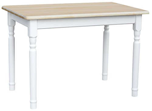 koma Esstisch Küchentisch 100x60cm Tisch MASSIV Kiefer Holz weiß Honig Landhausstil - NEU (Kiefer LACKIERT)