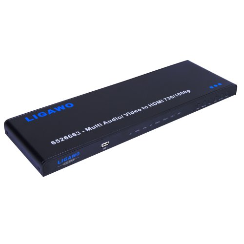 Ligawo AV 8 in 1 zu HDMI Konverter Scaler 720p/1080p 2D zu 3D | Component YPbPr + Composite CVBS + RGBHV VGA + HDMI zu HDMI Konverter | Multikonverter
