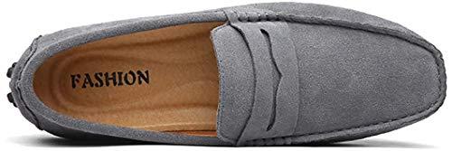 AARDIMI Herren Mokassins Bootsschuhe Wildleder Loafers Schuhe Flache Fahren Halbschuhe Beiläufig Slippers Hausschuh (43 EU, Z-grau)
