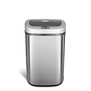 Ninestars DZT-80-4 Automatic Touchless Motion Sensor Oval Trash Can, 21 Gal. 80 L, Stainless Steel
