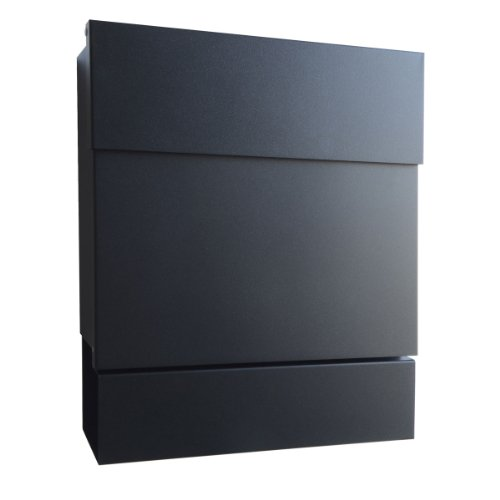 Radius Design Briefkasten Letterman 5 schwarz (RAL 9005) mit Zeitungsfach und verdecktem Schloss, moderner Wandbriefkasten mit Zeitungsrolle, Marken-Postkasten Letterman V: minimalistisch, edel