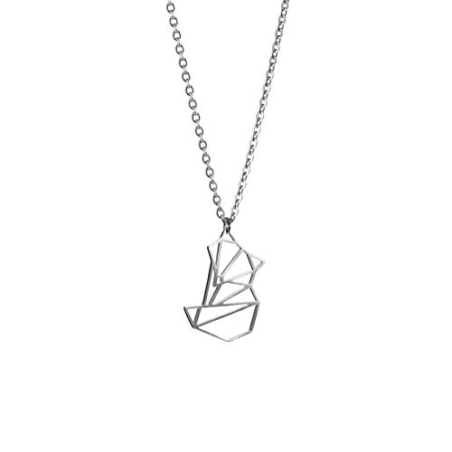 La Menagerie Zorro Plata, Joya de Origami & Collar geométrico Plata Mujer - Collar bañado en Plata de Ley 925 con diseño Animal Zorro - Joyería para niñas y Mujeres