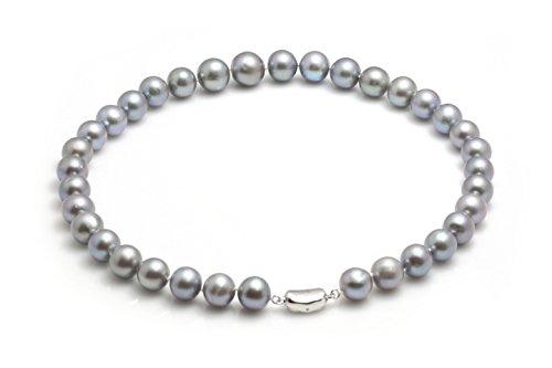 Schmuckwilli Perlenkette Grau Süßwasserperlen Zuchtperlen Kette Collier Halskette 45cm 11.5-13.5mm dsk0016-45