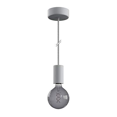 creative cables EIVA ELEGANT Outdoor-Pendelleuchte mit 1,5 m Textilkabel, Silikon-Lampenbaldachin und Lampenfassung, IP65 wasserdicht - Mit Glühbirne, Weiß