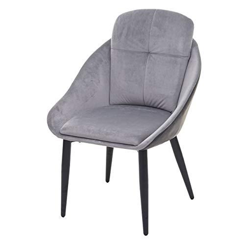Mendler Esszimmerstuhl HWC-G42, Stuhl mit Armlehne Küchenstuhl Lehnstuhl ~ Samt, grau-anthrazit