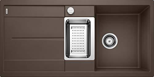 BLANCO METRA 6 S – Rechteckige Granitspüle für die Küche – für 60 cm breite Unterschränke – Mit Restebecken und Edelstahlschale – aus SILGRANIT – braun – 515045