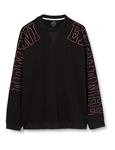 Armani Exchange Herren Sleeve Trend Logo Sweatshirt, Schwarz (Black 1200), Small (Herstellergröße:S)