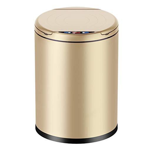 ZHAS Mülleimer Induktion Mülleimer Kreative Smart Home Elektrische Lade Dual Mode Freies Pedal Champagner Gold (Größe: 9L)