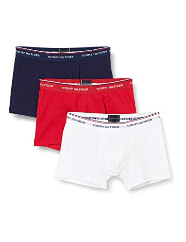 Tommy Hilfiger 3p Trunk Bóxer, Blanco (White/Tango Red/Peacoat 611), Large (Pack de 3) para Hombre