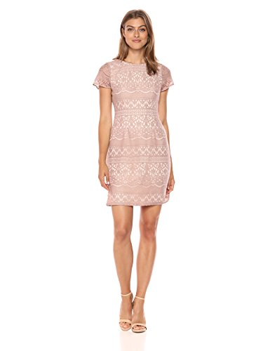 Adrianna Papell Women's Scalloped Striped Lace A-Line Dress with Cap Sleeves, Pink/Almond, 10 (Apparel)