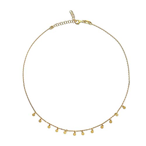 Casa de la Medalla - Collar Chapitas en Plata de Primera Ley 925 con Baño de Oro, Gargantilla Corta para Mujer, Choker con Discos Chapas