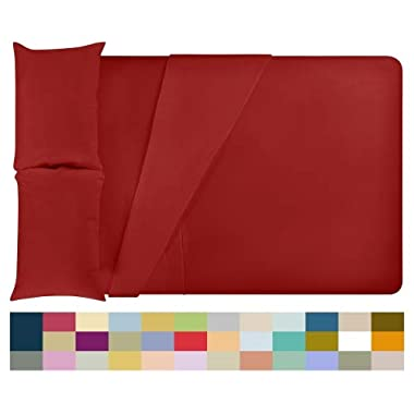 LuxClub 4 PC Microfiber and Bamboo Sheet Set: Bamboo Bedding Sheets with Microfiber - Softer and More Breathable Than Cotton - Antibacterial and Hypoallergenic - Machine Washable, Red, Queen