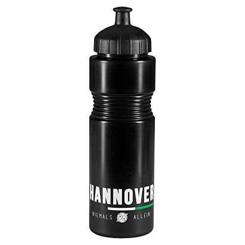 Hannover 96 Trinkflasche - Niemals ALLEIN s-w-g - schwarz 0,75 l Flasche, Fahrradflasche H96 - Plus Lesezeichen I Love Hannover