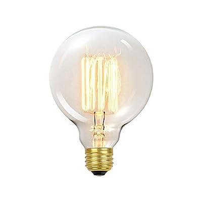 Globe Electric 1320 01320 60W Vintage Edison G30 Vanity Tungsten Incandescent Filament Light Bulb, E26 Standard Base, 245 Lumens, 1 Pack, Warm White