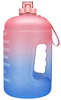 Venture Pal Large 128oz Leakproof BPA Free Fitness Sports Water Bottle with Motivational Time Marker to Ensure You Drink Enough Water Throughout The Day-Pink/Blue Gradient