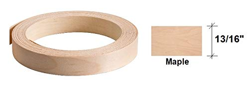"""Edge Banding-EB Quick- Real Wood Veneer Tape, Pre-Finished with Durable Clear Lacquer Finish, Pre-Glued with Hot Melt Adhesive, Flexible, 13/16"""" Wide - Made in USA (1, Maple-50' LF-Roll)"""