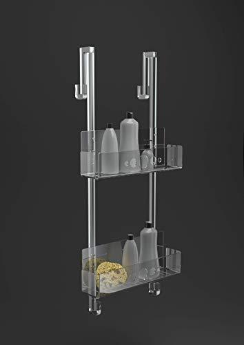 IKONA Porta Shampoo Doccia Da Appendere In Plexiglass struttura sp.15 mm   Mensola Doccia Portasapone Portaoggetti Resistente ed Elegante Made in Italy (H. 65 cm x L. 26 cm x P. 12 cm - Medium)