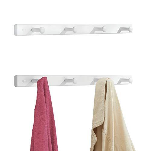 mDesign 2er-Set Hakenleiste aus Holz – dezente Wandgarderobe mit 4 Garderobenhaken – praktische Holzgarderobe zur Aufbewahrung von Mänteln, Jacken, Schals, Handtüchern – weiß