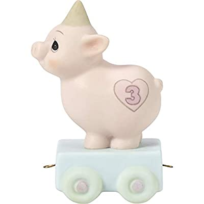Precious Moments, Heaven Bless Your Special Day, Birthday Train Age 3, Bisque Porcelain Figurine, 142023,Multicolor