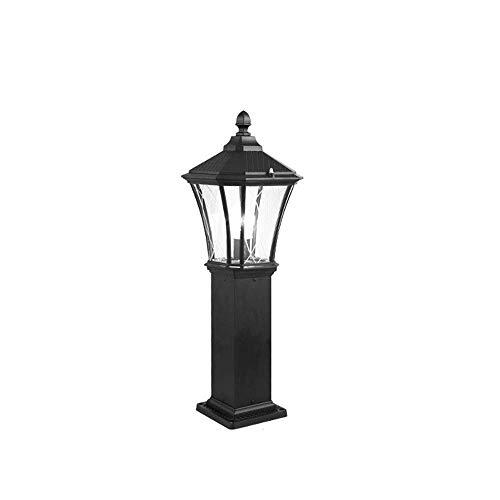 IP55 Lámpara de columna de jardín al aire libre a prueba de agua Linterna de vidrio Aluminio antiguo Poste retro Luz de pilar Gazebo exterior Patio Lámpara de césped E27 Camino Iluminación de paisaje